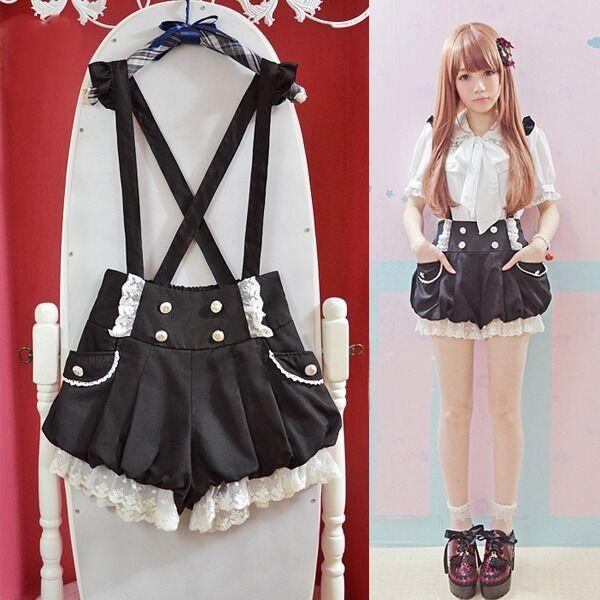 Brand New Kawaii Girls Lolita Suspender Lace Pumpkin Shorts Cute Lantern Pants