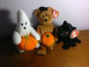Beanie Babies 3:Ghoul DOB:11-1-2004, Hocus DOB:10-29-2004,Midnight DOB: 12-23-00
