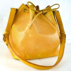 LOUIS-VUITTON-PETIT-NOE-Drawstring-Shoulder-Bag-Purse-Epi-M44109-Tassil-Yellow