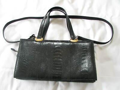 Aspirante Vintage Nero Fiorenza In Pelle Di Struzzo Espansione Spalla/borsa Fab Qualità-mostra Il Titolo Originale