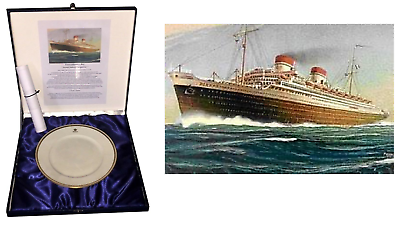 Raro piatto Transatlantico Rex nastro azzurro 1933 Società Italia navigazione