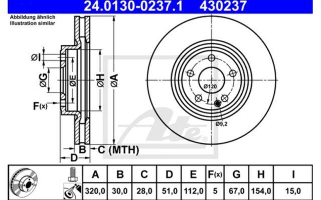 1x ATE Disco de freno delantero Ventilado 320mm 24.0130-0237.1