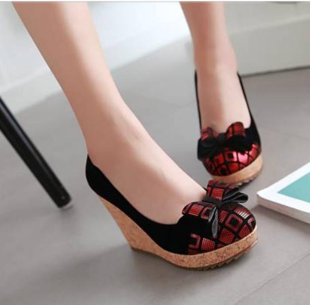 Womens Platfrom Bowknot Pump Plaid Pattern European Wedge Heel Shoes