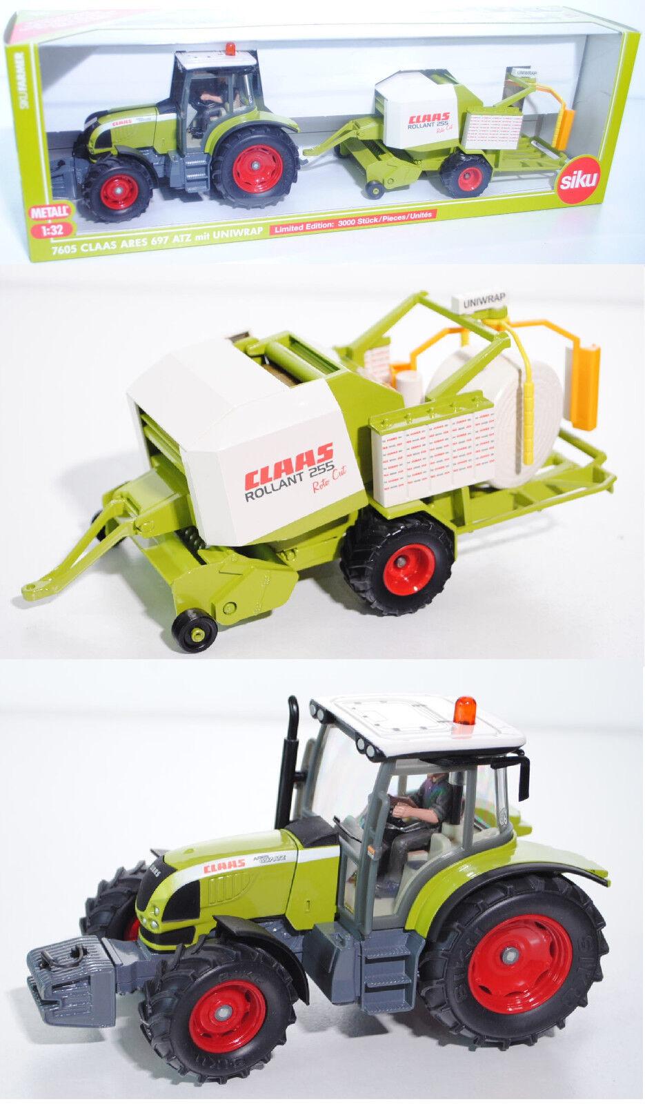 Siku Farmer 7605 Claas Ares 697 697 697 ATZ & Claas Rollant 255 UNIWRAP 1 32 Werbemodell 85a64b