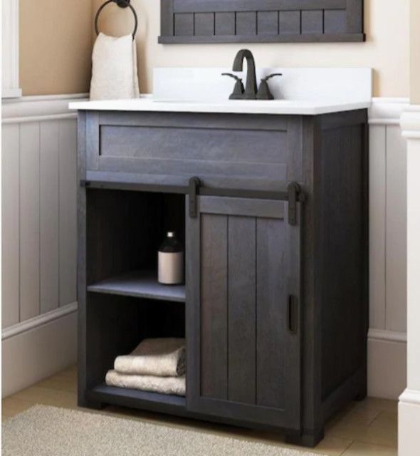 Style Selections Acadia 12 In White Bathroom Vanity With White Cultured Marble T For Sale Online Ebay