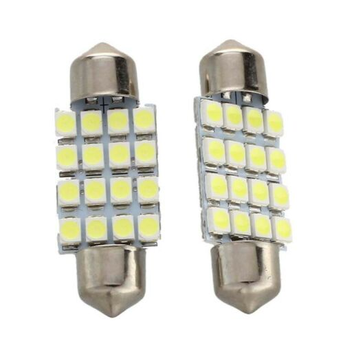 2 KFZ Lampe Soffitte Innen 36mm 16 SMD LED Weiss Sofitte E7T5