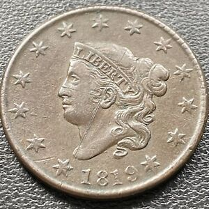1819-Large-Cent-Coronet-Head-One-Cent-1c-High-Grade-XF-AU-Details-22634