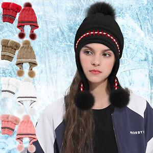2-Pcs-Windproof-Beanie-Hat-Ski-Cap-Fleece-Lined-Ear-Flaps-Winter-Gloves-Pompom