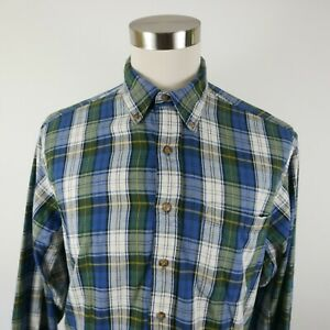 Woolrich-Mens-Cotton-LS-Button-Down-Green-Blue-Yellow-Plaid-Flannel-Shirt-Large