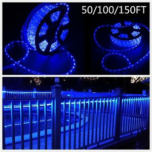 Blue-50-100-150-FT-LED-Rope-Light-Strip-In-Outdoor-Decor-Lights-Xmas-Festival