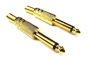 From OZ Quality 2PC Mono Male 6.35mm 1/4 Solder Connector Plug & Spring FREEPOST