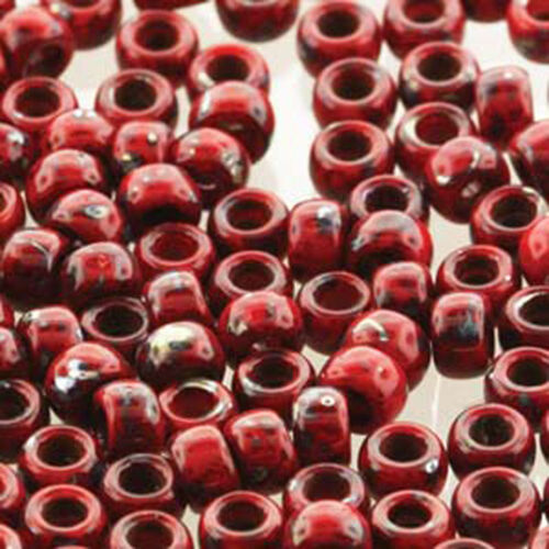 Matubo Czech Glass Seed Beads 70 3.5mm 50 Gr 1.5mm Hole Coral Rd Picasso Op