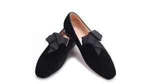 4d2cbe57c2a Image is loading Men-RESSOROTH-Black-Velvet-Loafers-Slip-on-Slipper-