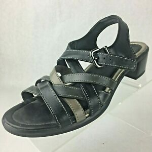 Ecco-Womens-Black-Leather-Sandals-Strappy-Slingback-Low-Heel-37-US-6-6-5