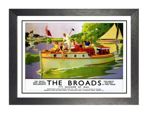 Norfolk Broads British Railway Travel Advert Old Vintage Retro Picture Poster