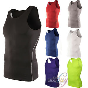 Mens-Compression-Under-Skin-Base-Layers-Singlet-Sleeveless-Vest-Tank-Tops-Shirts