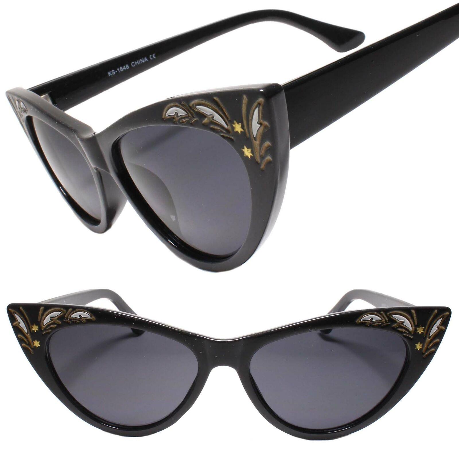 Classy Elegant Exotic Retro Fashion Cat Eye Chic Sunglasses Pointy Black Frame
