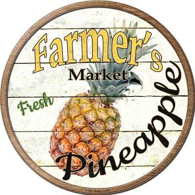 "Farmers Market Pineapple 12/"" Round Metal Kitchen Sign Novelty Retro Home Decor"
