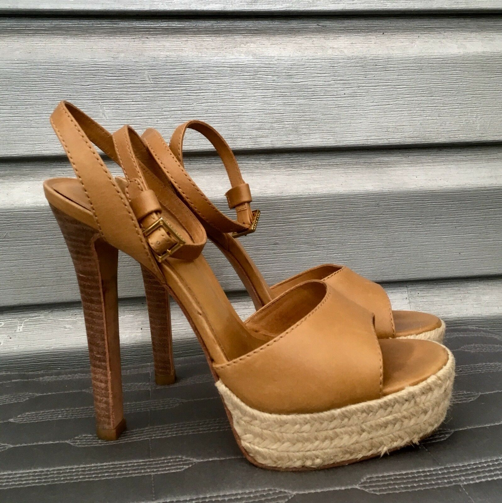 TORY BURCH Tan Leather Bradshaw Strappy Platform Open Toe Espadrille Heels