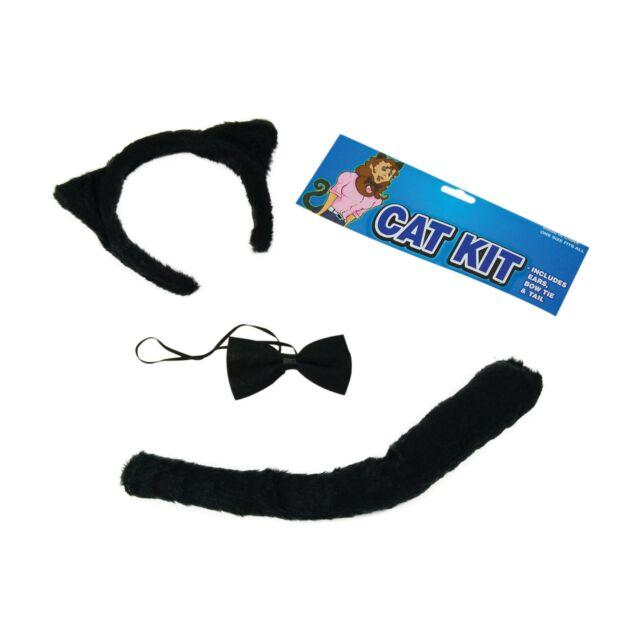 Black Cat Fancy Dress Set Costume Tail Ears Bow Tie Accessory Halloween