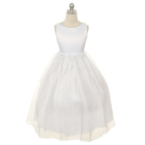 WHITE Flower Girl Dress Formal Wedding Party Birthday Recital Pageant Graduation
