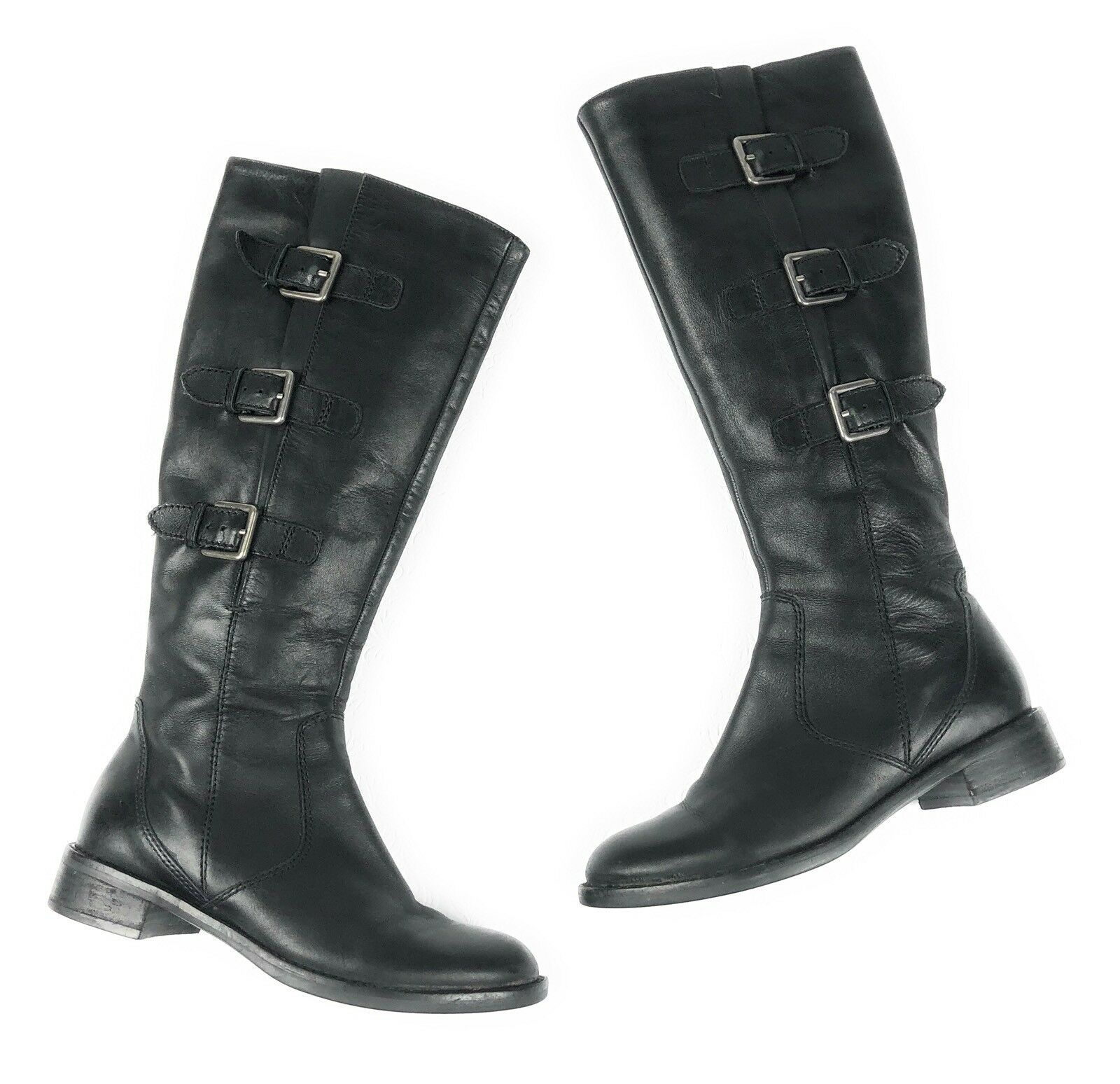 ECCO Hobart knee high tall tall tall boots 36 5 - 5.5  black leather tall zip buckles s47 bf66d3