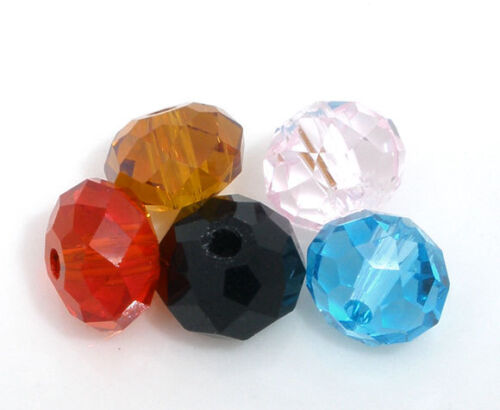 100 Mixed Crystal Quartz Faceted Rondelle Bead 5040 6mm