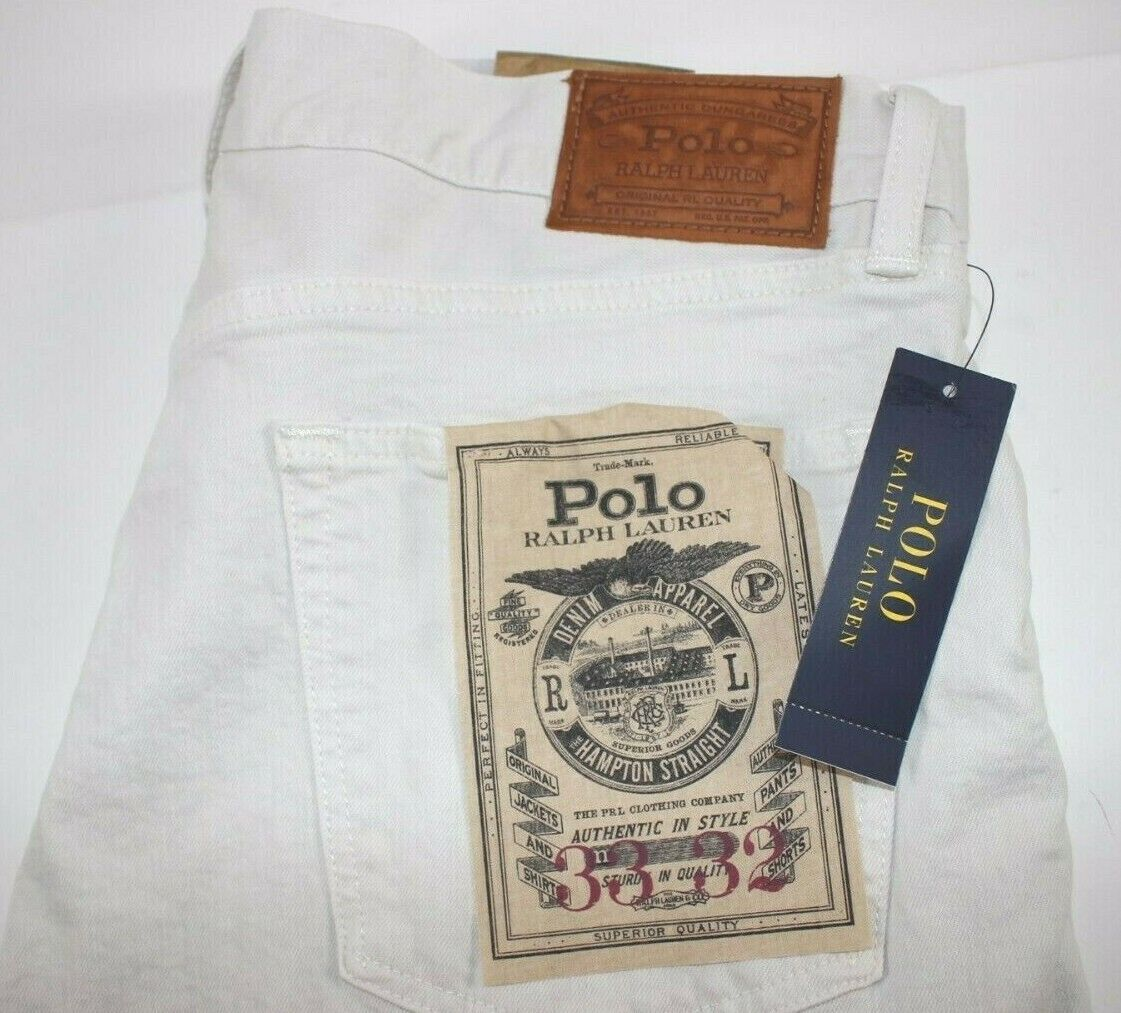 NWT POLO RALPH LAUREN 33x32 Men's Pumice colorwash HAMPTON STRAIGHT Stretch Jean