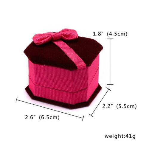 Womens Bowknot Shape Earrings Bracelet Necklace Ring Velvet Gift Jewellery Boxes