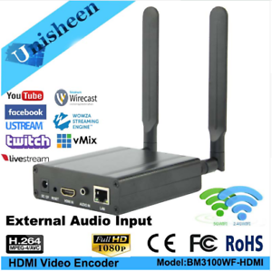 MPEG4 H 264 HDMI RTMP Encoder Transmitter WiFi For Youtube Facebook Live Stream