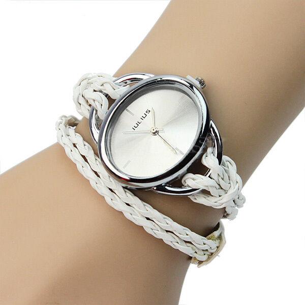 New Women Lady White Bracelet Charm Leather Weave Quartz Movement Wrist Watch