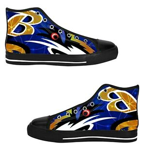 baltimore ravens mens custom sneakers high top canvas
