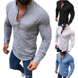 Senores-verano-camisas-cuello-alto-Lino-camisa-camiseta-slim-fit-manga-larga-blusa-ocio