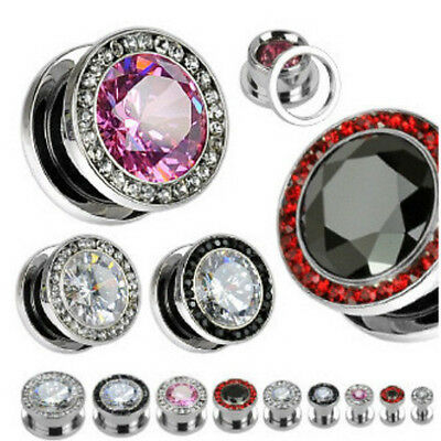 PAIR Multi-Gemmed Rim Bling Steel Screw Fit Tunnels Plugs Earlets Gauges