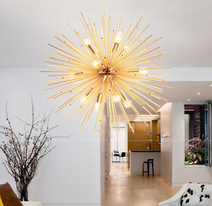 Details about E14 Golden Ceiling Lamp Sputnik Living Room Chandeliers  Pendant Lighting Fixture