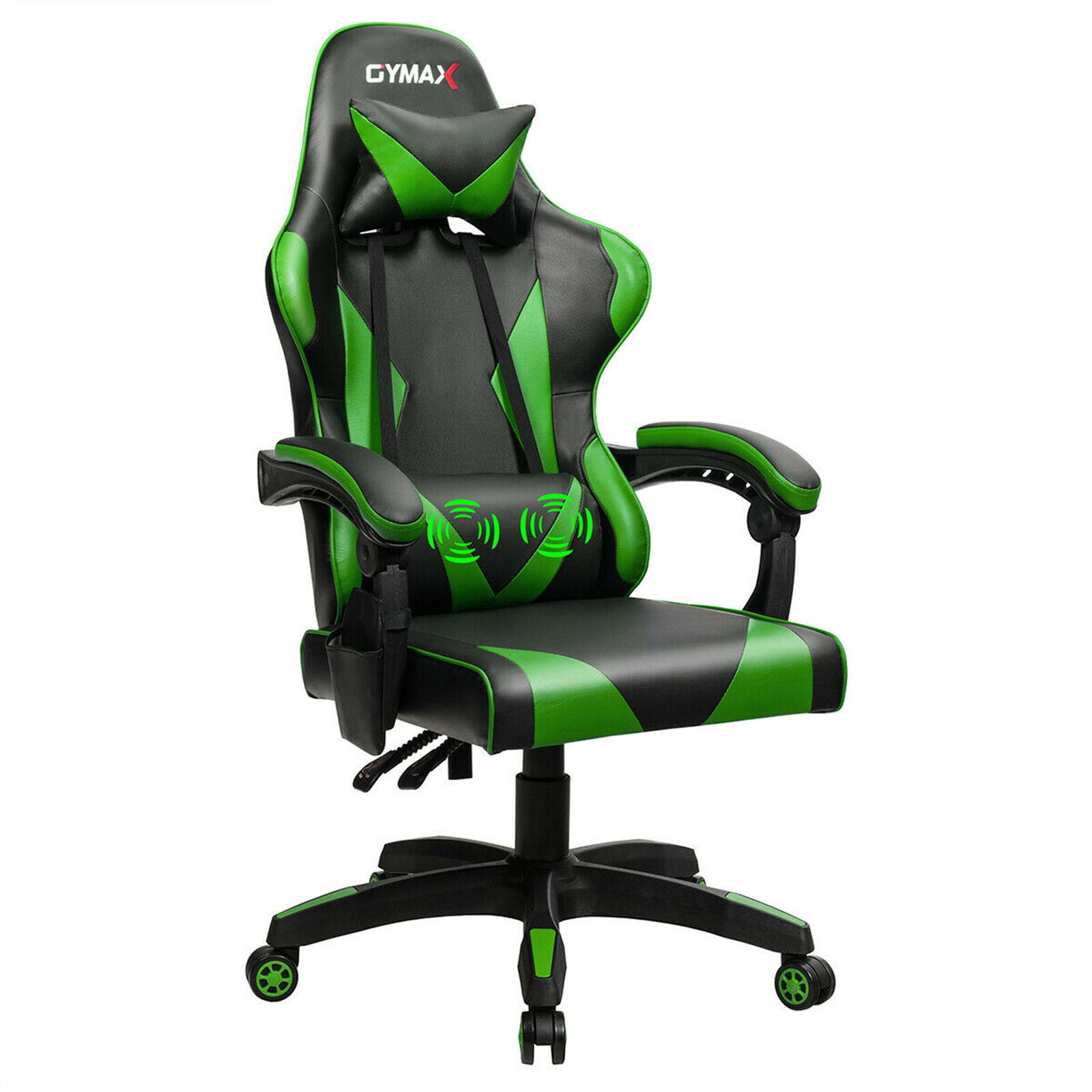 Gaming Chair Reclining Swivel Racing Office Chair w/Massage Lumbar Support Green