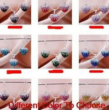 6 set/lot mixed clay micro Gradient crystal heart shamballa necklace pendant set