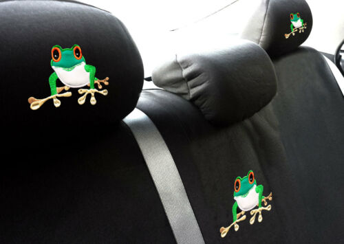 For Kia New Frog Embroidery Logo Car Seat Covers Headrest Full Set