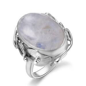 Gr.6,7,8,9,10,11,12 Volumen Groß Kreativ Neu Luxus 925 Sterling Silber-ring Mit Echtem Mondstein Echtschmuck