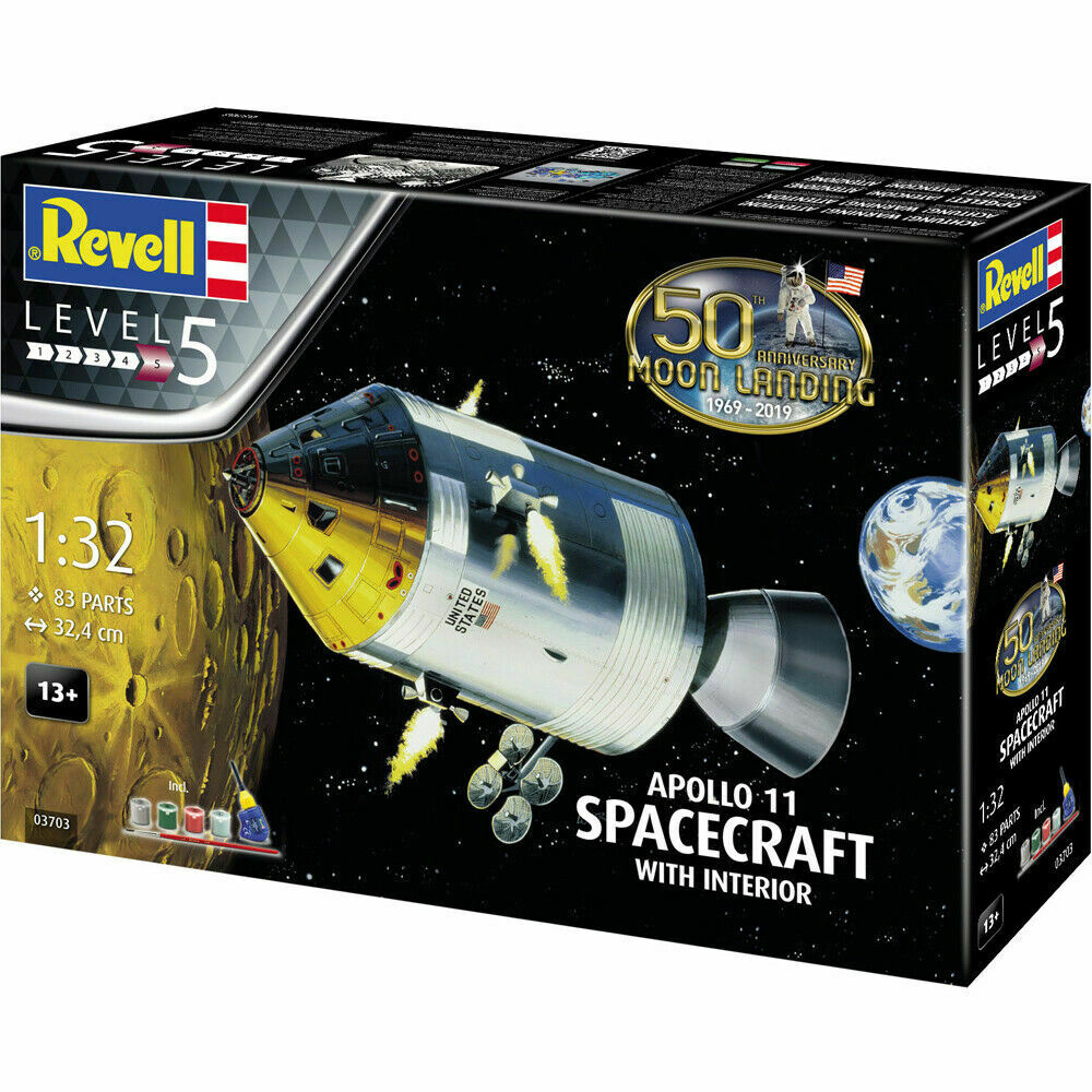 REVELL Gift Set Apollo 11 Spacecraft with Interior 1 32 Space Model Kit 03703