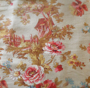 Antique-French-Country-Cottage-Roses-Floral-Cotton-Fabric-Coral-Pink-Blue-2