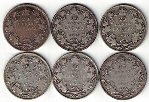 6-X-CANADA-TWENTY-FIVE-CENTS-QUARTERS-KING-GEORGE-V-800-SILVER-COINS-1928-1933