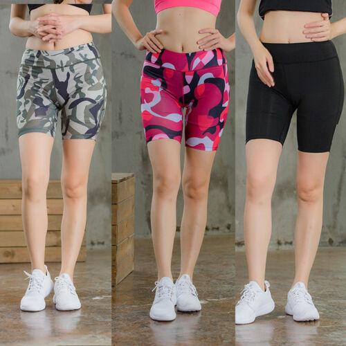 Women/'s Sports Athletic Shorts Yoga Running Jogger High Waist  Camo Short Tights