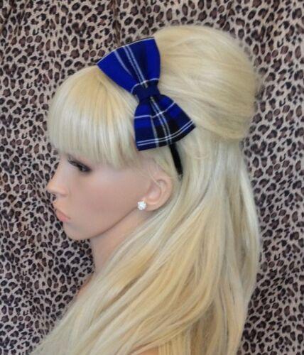 "New Scotland Tartan Carreaux Aliceband Cheveux Alice Hoop Bandeau 4/"" tissu côté Bow"
