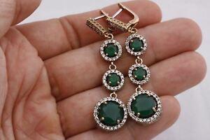 Turkish-Jewelry-Dark-3-Round-Emerald-Topaz-925-Sterling-Silver-Dangle-EarRings