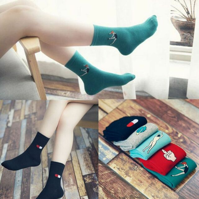 Women Girl Casual Cartoon Sport Socks Hosiery Mid-Calf Length Cotton Stockings