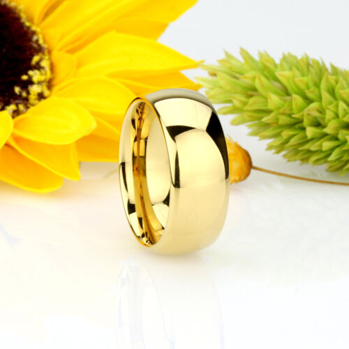 Men 9MM Comfort Fit Tungsten Carbide Wedding Band Gold Tone Ring Free Gift Box
