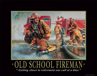 Firefighting Motivational Poster Art Fireman Equipment Badge Helmet Tools PRO18