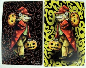 The-Wizard-of-Swinesylvania-Signed-Numbered-Halloween-Postcard-Set-of-2-Fantasy