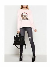 WILDFOX COUTURE CHRISTMAS JUMPER PINK MEOWY CAT SWEATSHIRT RARE SMALL WILD FOX